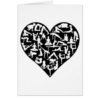 Love Yoga Poses Silhouettes Heart Card