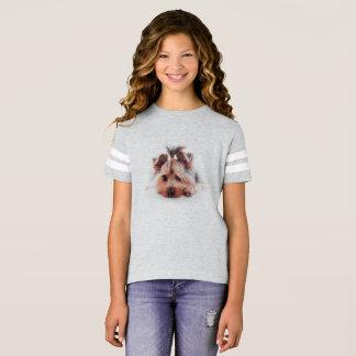 "Love Yorkies 5"" x 7Girls' Football Shirt"