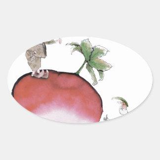Love Yorkshire big radish Oval Sticker