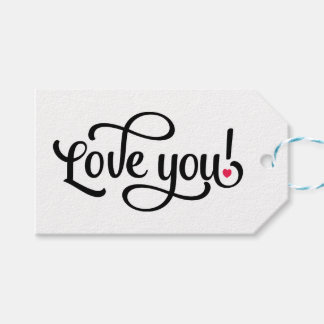 Love You Black And Pink Wedding Calligraphy Gift Tags
