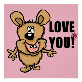 Love you cartoon character with hearts