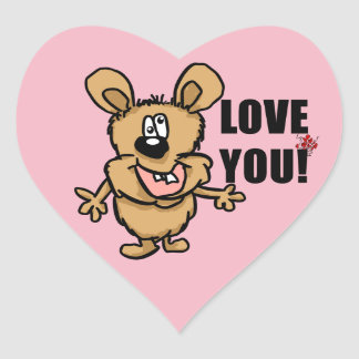 Love you cartoon character with hearts heart sticker