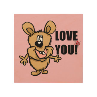 Love you cartoon character with hearts wood canvases