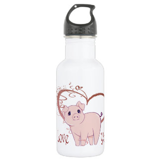 Love You, Cute Piggy Art 532 Ml Water Bottle