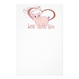 Love You, Cute Piggy Art Stationery