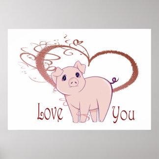 Love You, Cute Pink Pig Swirl Heart Print