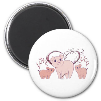 Love You, Cute Pink Pigs Art 6 Cm Round Magnet