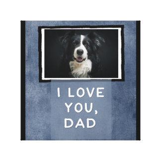 Love You Dad, Dark Blue Custom Dog Photo Canvas Canvas Print