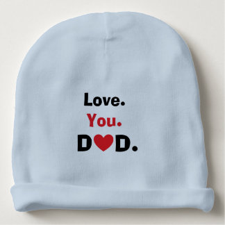 Love you dad red heart three words expression baby beanie