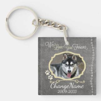 Love You Forever Dog Memorial Keepsake Single-Sided Square Acrylic Key Ring