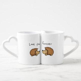 Love you forever - Hedgehog Mugs for couples.