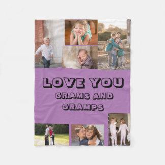 Love You Grams and Gramps Fleece Blanket