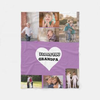 Love You Grandpa Inside A Heart Fleece Blanket