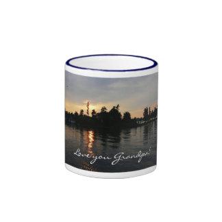 Love you Grandpa!-Sunset at Thousand Islands Ringer Mug