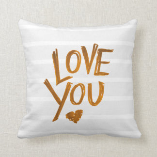 Love you Heart pillow with stripes