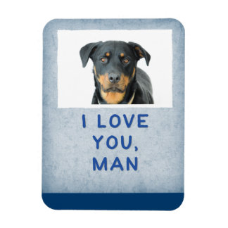 Love You Man, Light Blue Custom Dog Photo Magnet