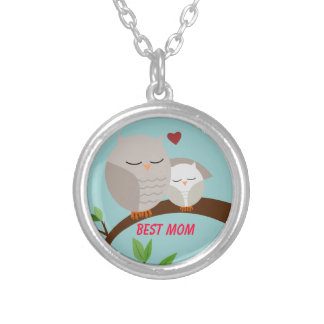 Love You Mom and Baby Owl in Browns Necklaces