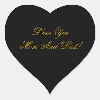 LOVE YOU MOM, DAD HEART STICKER