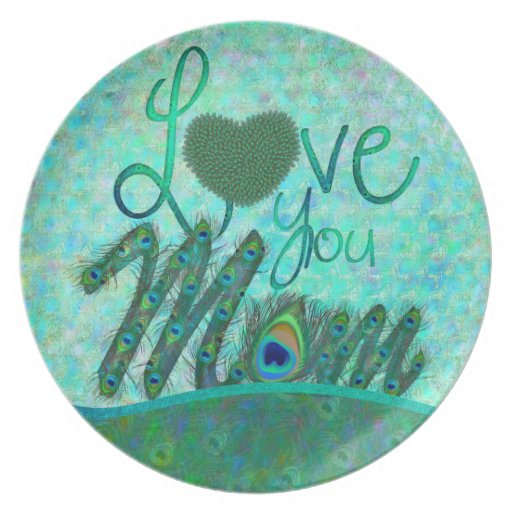 Love you mom decorative text design plates