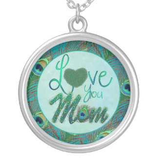 Love you mom mother's day ornate text necklaces