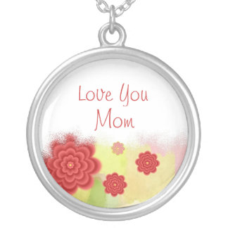 Love you Mom Round Pendant Necklace