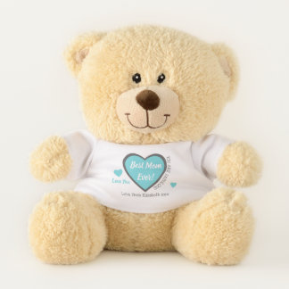 Love you Mom turquoise and gray personalized name Teddy Bear