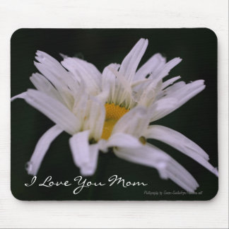 Love You Mom White Daisy Flower Mousepad