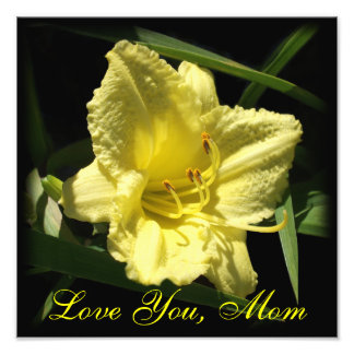 Love You Mom: Yellow Daylily, Mother's Day Photo Print