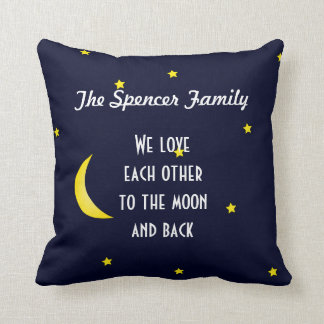 Love You Moon and Back Personalized Family Pillow