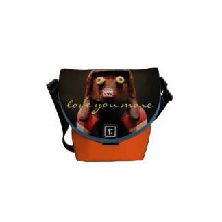 """Love You More"" Quote Cute Funny Face Photo Mini Commuter Bags"