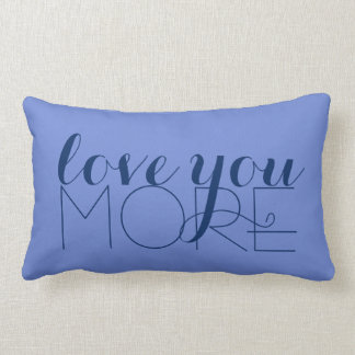 Love You More Text Hydrangea Purple Lumbar Cushion