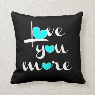 Love You More, White Aqua Hearts on Black Cushion