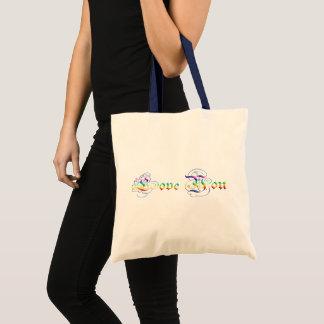 Love You. Multicolor  gradient text. Tote Bag