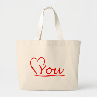 Love You, my heart is always open for you Large Tote Bag