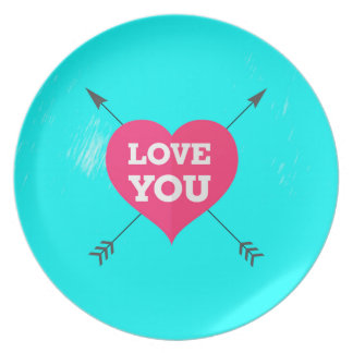 Love You Pink Heart Anniversary Valentine Couple Plates
