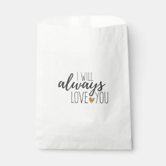 Love You Quote Black White Wedding  Bridal Shower Favour Bag