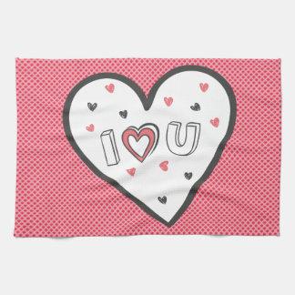 Love You So Much Romance Pink Heart Cute Sweet Tea Towel