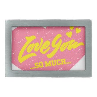 love you so much vintage heart rectangular belt buckle