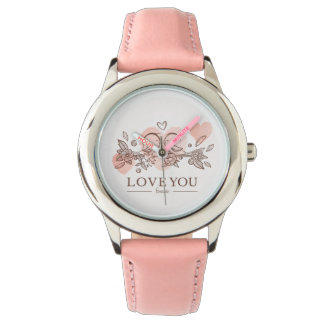 """Love You"" Stainless Steel Pink Wrist Watches"