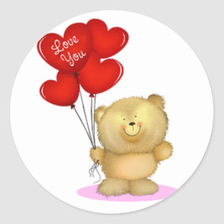 Love You Teddy Bear holding heart ballons Round Sticker