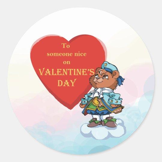 Love You Teddy Bear Prince Classic Round Sticker