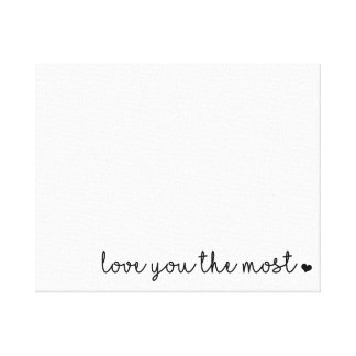 love you the most with heart simple modern canvas print