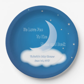 Love You to the Moon and Back - Blue BOY/GIRL Paper Plate