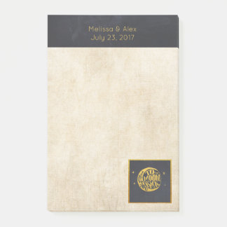 Love you to the Moon and Back Gold and Black Post-it Notes