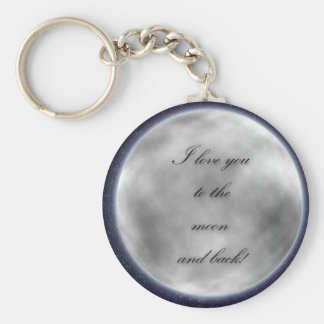 Love you to the moon and back keyring basic round button key ring