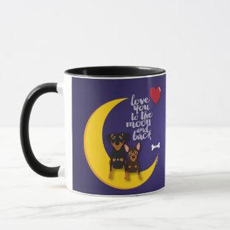 Love You To the Moon and Back Min Pin Coffee Mug