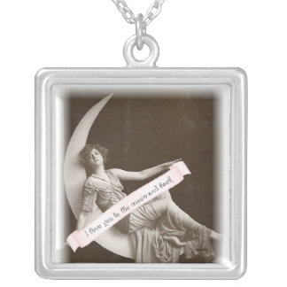 Love you to the moon and back square pendant necklace