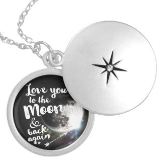 Love you to the Moon & back again • Space Design Round Locket Necklace