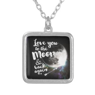 Love you to the Moon & back again • Space Design Square Pendant Necklace