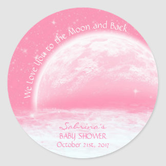 Love You To The Moon & Back Pink Girl Baby Shower Round Sticker
